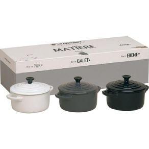 Le-Creuset-Set-X-3-Mini-cocotte-Blanco-Negro-Gris