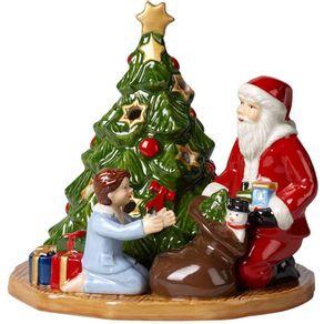 Villeroy-Boch-Christmas-Toys-Figura-Santa-Con-Niña-Y-Arbol-15-X-14-X-4-Cm